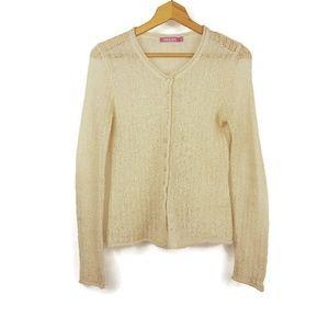 Vintage Light Golden Beige Mohair Knit Cardigan